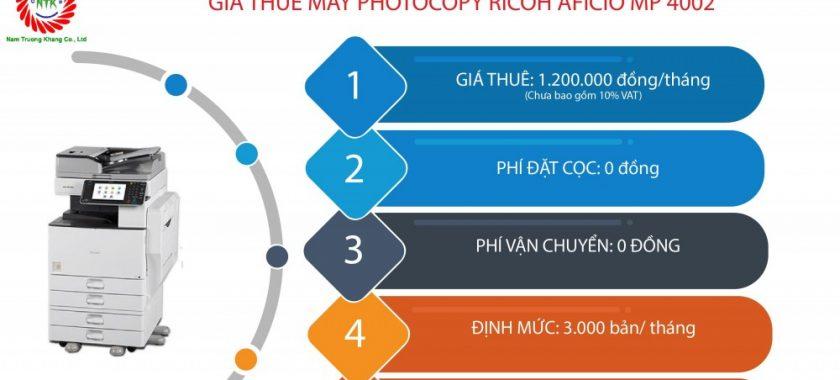 Bảng giá cho thuê máy photocopy Ricoh MP 4002